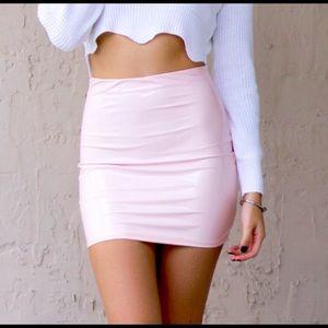 Adorable blush pink latex  mini skirt!
